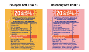 Nexba Naturally Sugar Free Soft Drink 1L (12 Pack) Mixed Case - Raspberry (x6) & Pineapple (x6): £ inc. VAT