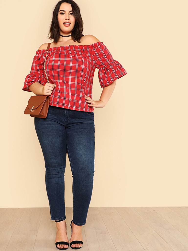 PLUS SIZE Betty Check Top