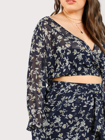 PLUS SIZE Iris Chiffon Crop Top - Boho Buys