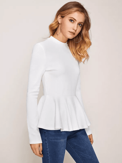Dina Ribbed Peplum Top - Boho Buys