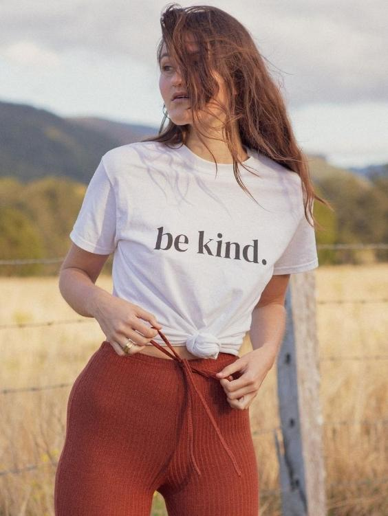 Be Kind Cotton Tee | BLACK TEXT - Boho Buys