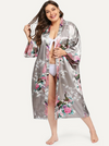 PLUS SIZE Peacock Satin Robe - Boho Buys