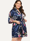 PLUS SIZE Peacock Satin Mini Robe - Boho Buys