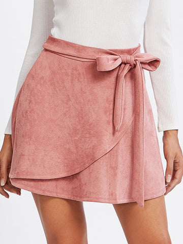 Ballerina Faux Suede Wrap Skirt