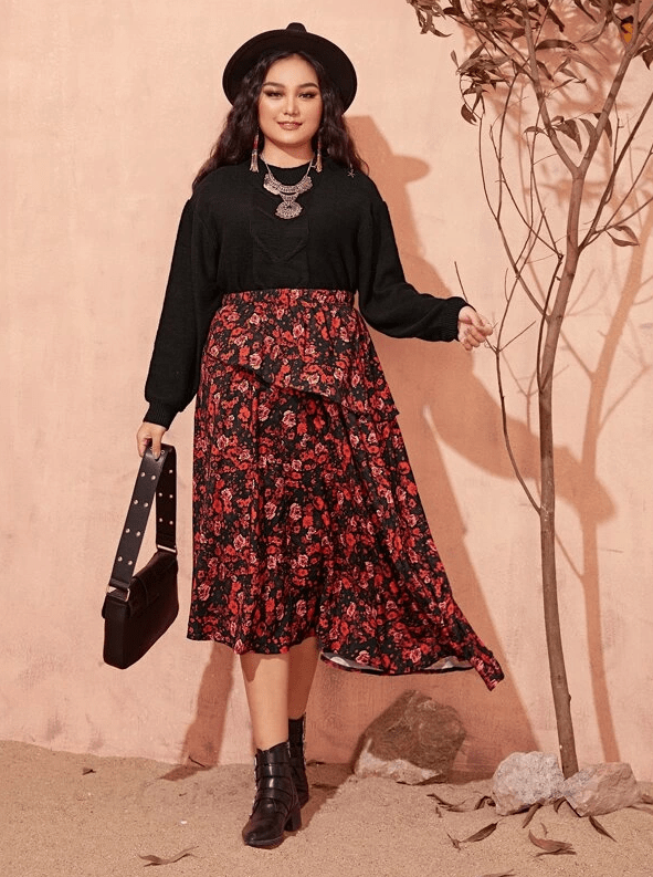 PLUS SIZE In Bloom Skirt - Boho Buys