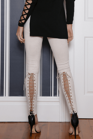 RUNAWAY Seduction Faux Suede Pants | Sand