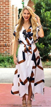 Oatmeal Geo Maxi Dress - Boho Buys