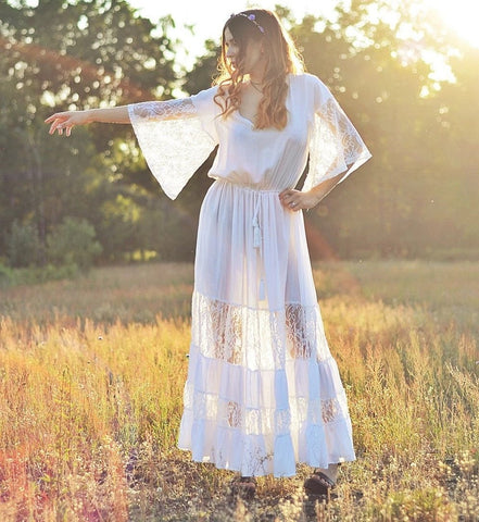 Sun Dance Lace Maxi Dress | ONE LEFT