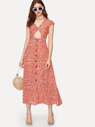 Nicole Button Front Dress - Boho Buys