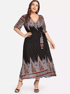 PLUS SIZE Folk Wrap Maxi - Boho Buys