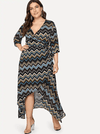 PLUS SIZE Chevron Wrap Dress - Boho Buys