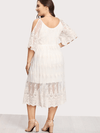 PLUS SIZE White Wine Lace Dress - Boho Buys