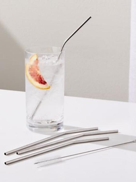 Silver Stainless Steel Straws | Set Of Three - Boho Buys