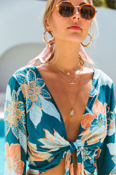 LE SALTY LABEL Sabina Teal Bloom Crop - Boho Buys