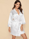 Embroidered Bride Satin Robe - Boho Buys