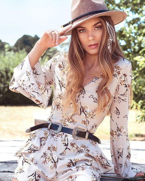 Scattered Florals Bell Sleeve Playsuit