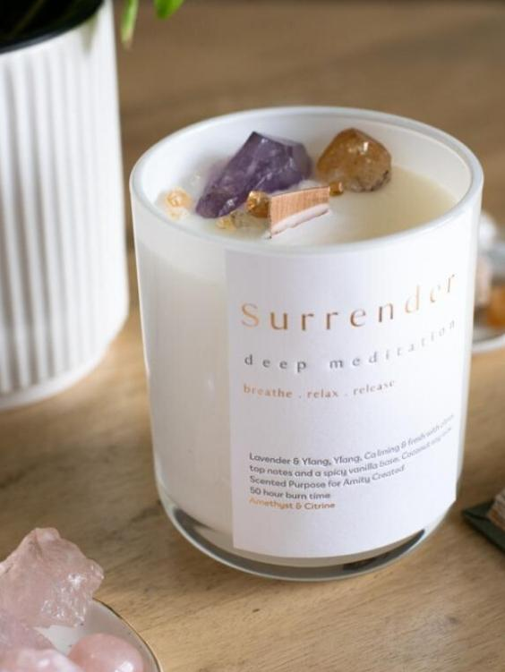 AMITY CREATED Surrender Crystal Candle - Boho Buys