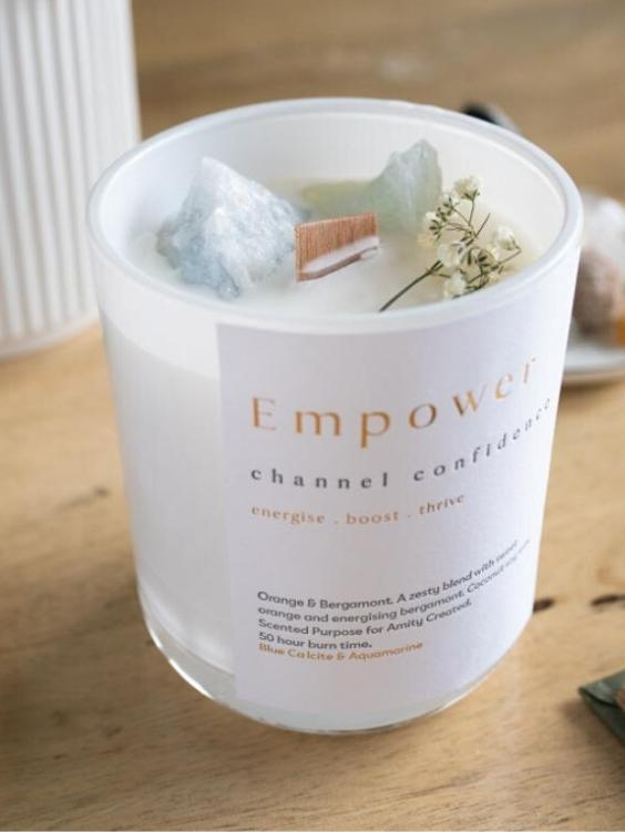 AMITY CREATED Empower Crystal Candle - Boho Buys