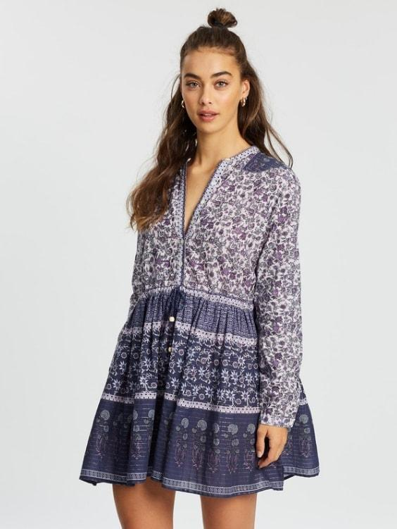 Amethyst Lurex Cotton Dress - Boho Buys