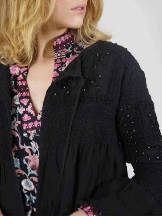 EYES ON FLOYD Onyx Pom Pom Jacket - Boho Buys