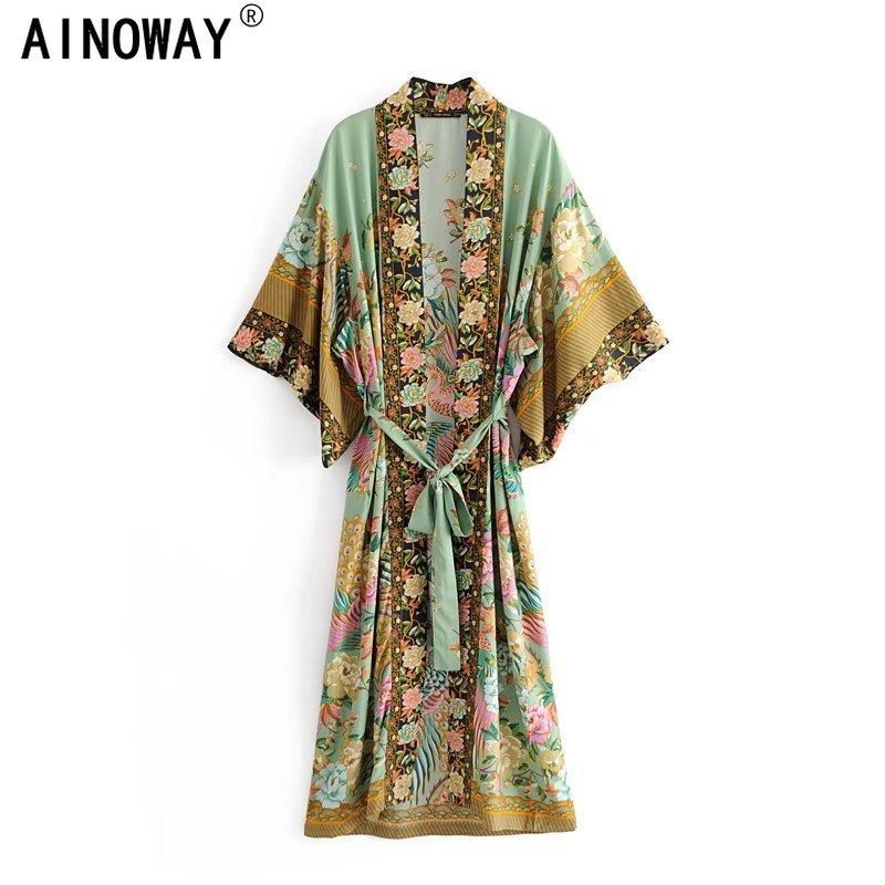 Boho  women peacock floral print bat sleeve beach Bohemian Kimono robe Ladies V neck Tassel Summer happie dress vestidos - Boho Buys