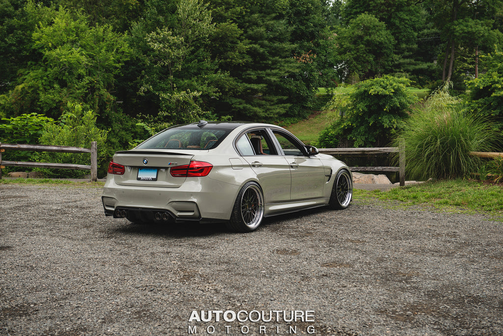 F80 M3 in Fashion Grey with a Vorsteiner Carbon Fiber Diffuser, Akrapovic Exhaust, on BBS LM Wheels, and lowered with a KW HAS Kit.