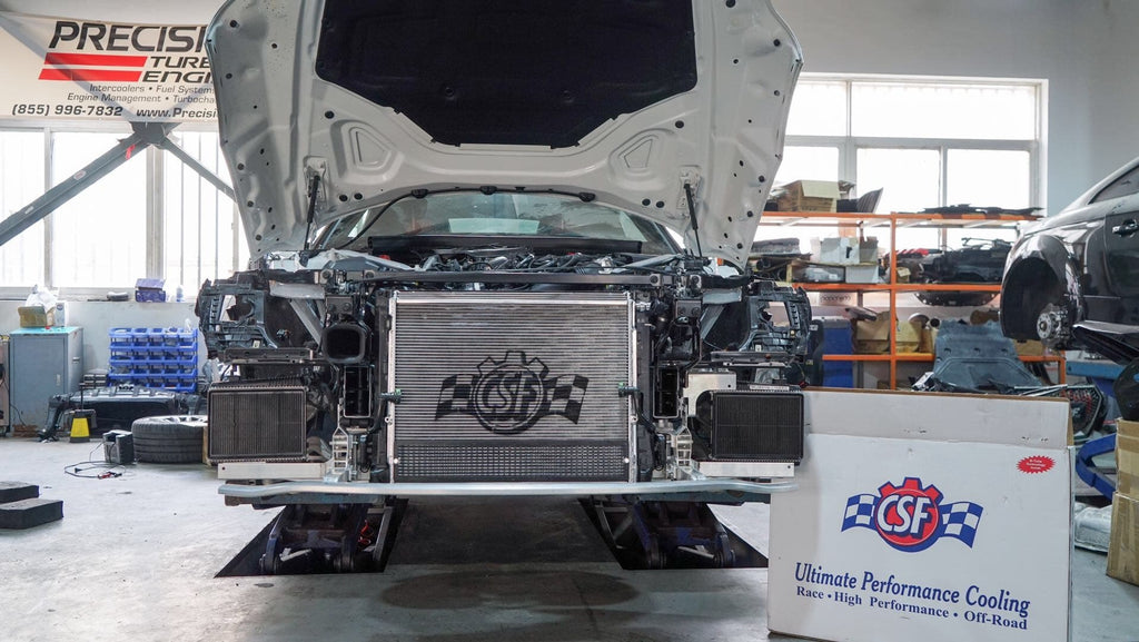CSF Heat Exchanger installed on the Toyota A90 Supra