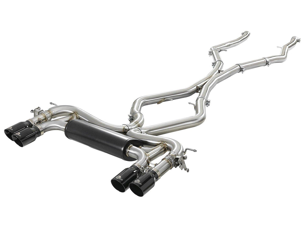 aFe MACH Force-Xp 3.5in. 304 SS C/B Exhaust System BMW X5 M (F85) / X6 M (F86) 15-19 V8-4.4L (tt) S63- Black Tip - AUTOcouture Motoring - Exhaust - AFE Power