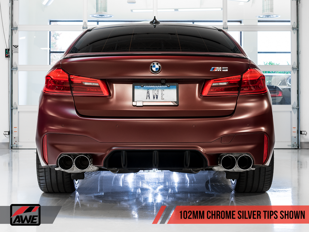 AWE Tuning 18-19 BMW M5 (F90) 4.4T AWD SwitchPath Axle-back Exhaust - Chrome Silver Tips - AUTOcouture Motoring - Exhaust - AWE Tuning