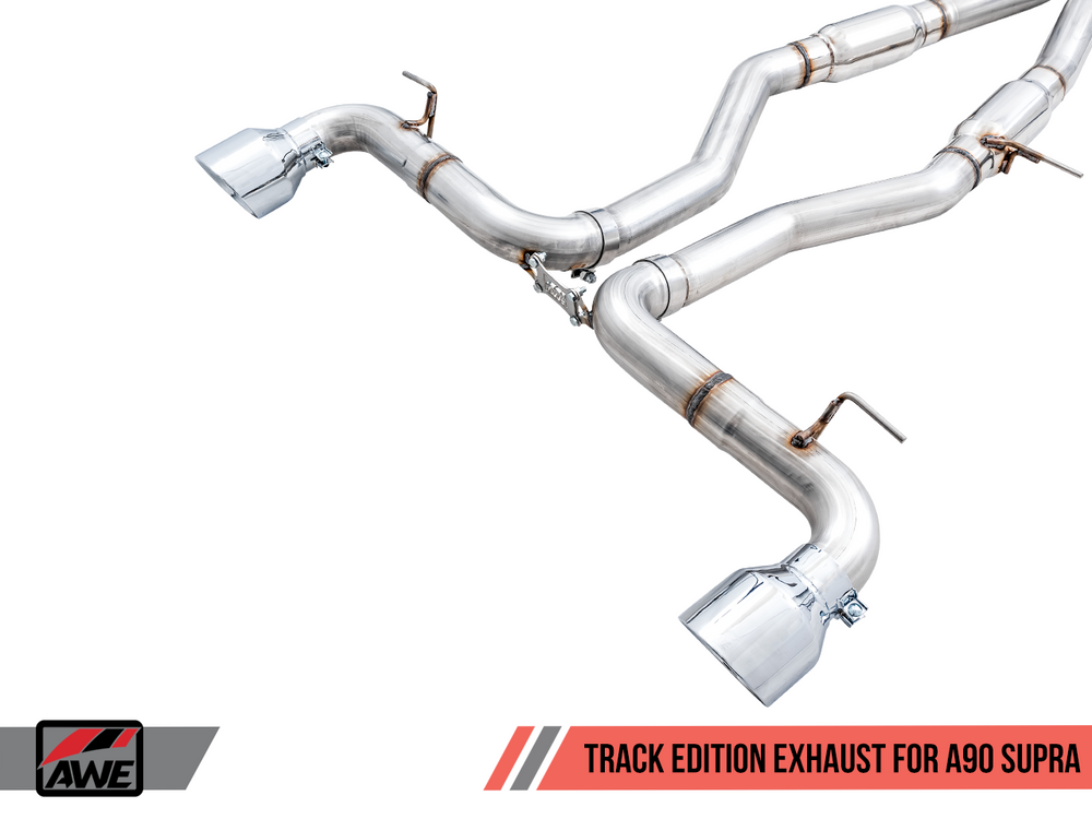 AWE Toyota GR Supra Track Edition Exhaust - 5in Chrome Silver Tips - AUTOcouture Motoring - Exhaust - AWE Tuning