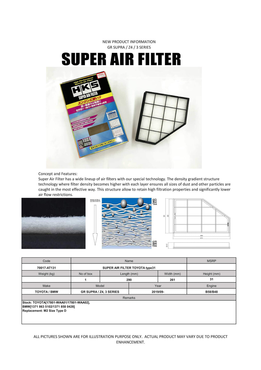 HKS SUPER AIR FILTER TOYOTA Type 31 (A90 Supra) - AUTOcouture Motoring - Intake - HKS