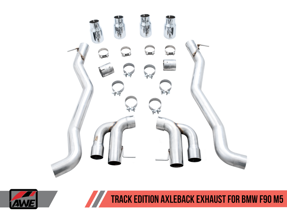 AWE Tuning 18-19 BMW M5 (F90) 4.4T AWD Cat-back Exhaust - Track Edition (Diamond Black Tips) - AUTOcouture Motoring - Exhaust - AWE Tuning
