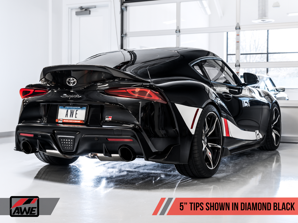 AWE Toyota GR Supra Non-Resonated Touring Edition Exhaust - 5in Diamond Black Tips - AUTOcouture Motoring - Exhaust - AWE Tuning