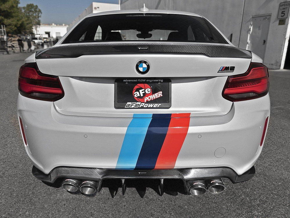 aFe MACHForce XP 3in - 2.5in DwnPipe Back Exh w/ Carbon Tips 304SS 2019 BMW M2 Comp L6-3.0L(tt)S55 - AUTOcouture Motoring - Exhaust - aFe