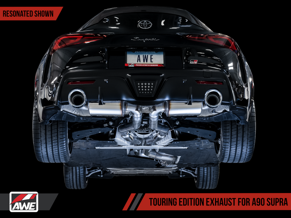 AWE  Toyota GR Supra Resonated Touring Edition Exhaust - 5in Chrome Silver Tips - AUTOcouture Motoring - Exhaust - AWE Tuning