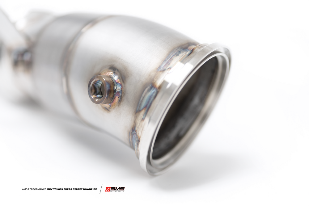 AMS Performance 2020+ Toyota Supra A90 Street Downpipe w/GESI Catalytic Converter - AUTOcouture Motoring - Exhaust - AMS Performance