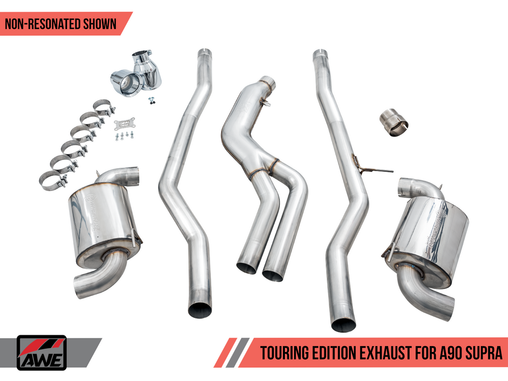 AWE Toyota GR Supra Non-Resonated Touring Edition Exhaust - 5in Chrome Silver Tips - AUTOcouture Motoring - Exhaust - AWE Tuning