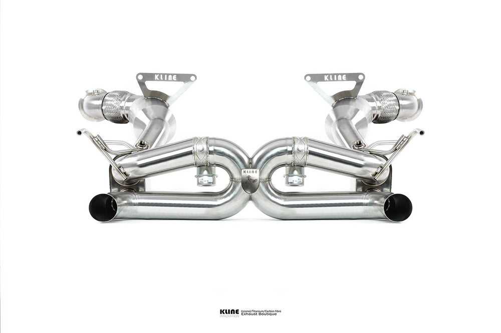 Kline Innovation Stainless Steel Full System with Cat Pipes Ferrari 488  15-19 - AUTOcouture Motoring - Exhaust - Kline