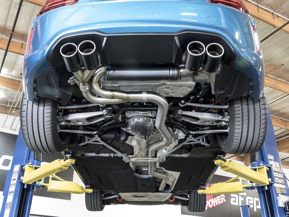 aFe MACHForce XP Exhaust SS304 Down-Pipe Back 4in Carbon Tips for 16-17 BMW M2 (F87) L6-3.0L - AUTOcouture Motoring - Exhaust - aFe