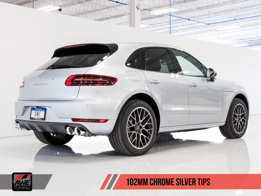 AWE Tuning Porsche Macan Track Edition Exhaust System - Chrome Silver 102mm Tips - AUTOcouture Motoring - Exhaust - AWE Tuning