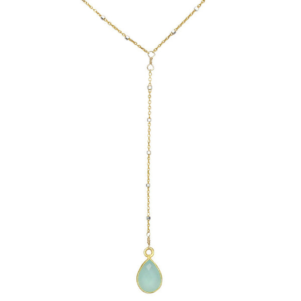 Pera Short Lariat Necklace Gold Laura Tanner Jewelry