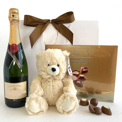 champagne, bear, chocolates gift bag