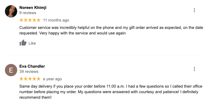 Review for gift baskets