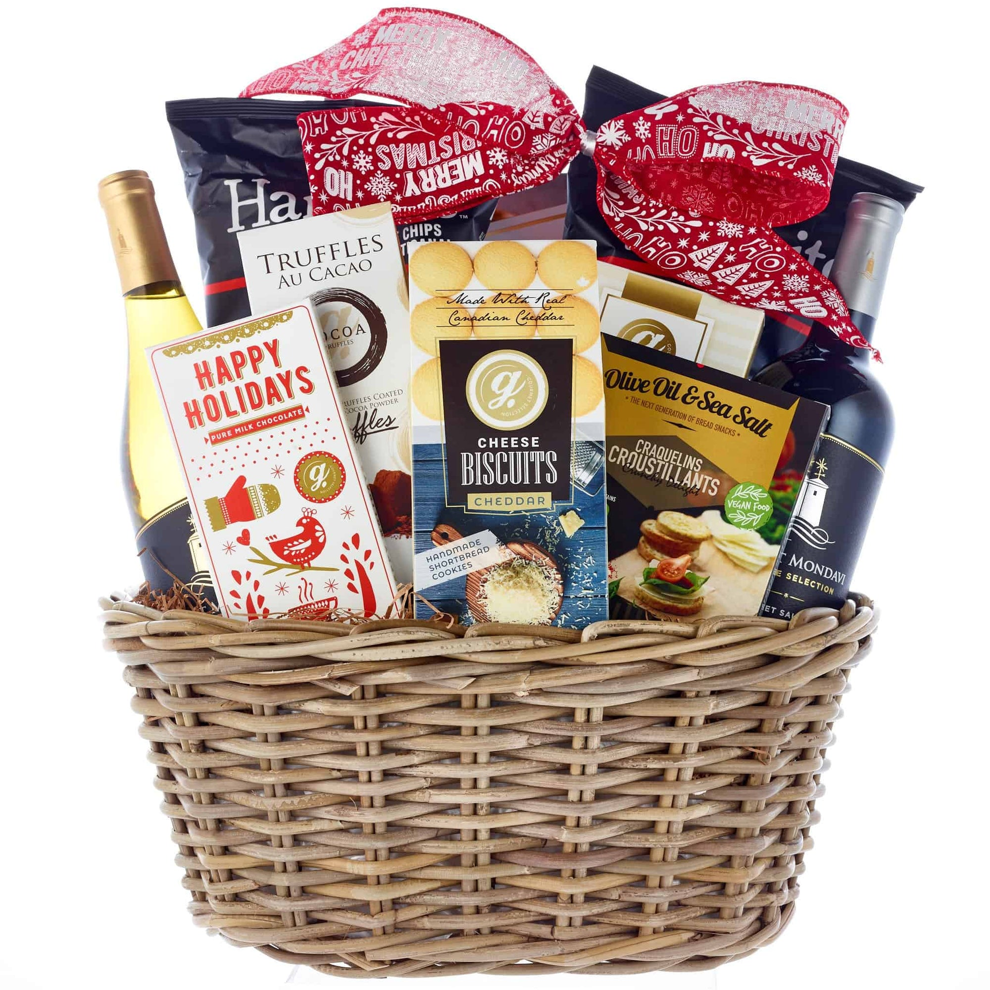 Christmas 2 wine gift basket delivery