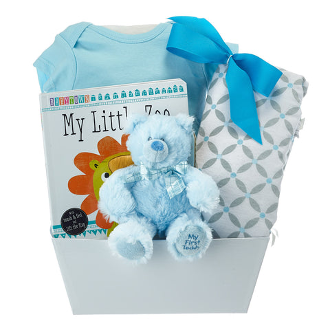 My First Teddy Bear Gift Basket For Boy