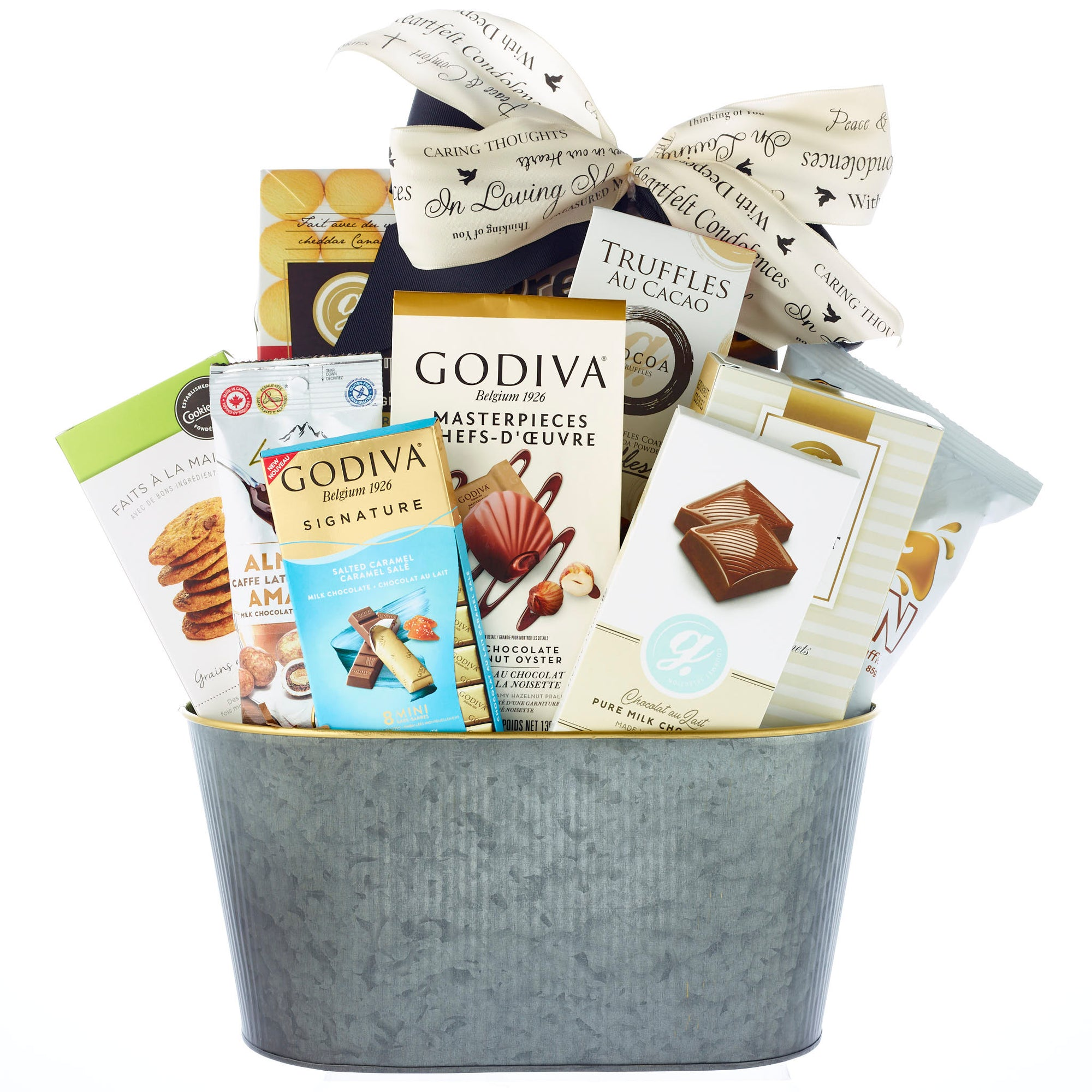 Elegant sympathy hamper with chocolates and cookies
