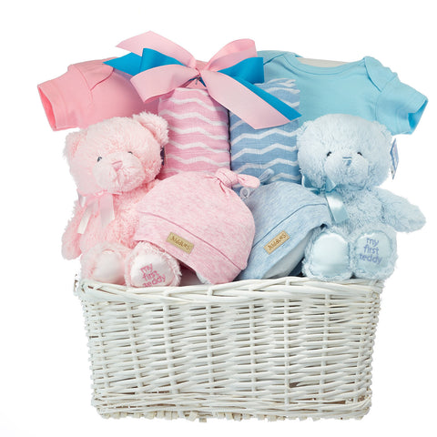 Twins Newborn Boy And Girl Gift Basket