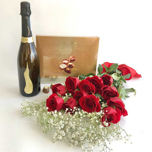 Prosecco, truffles and rose bouquet delivery