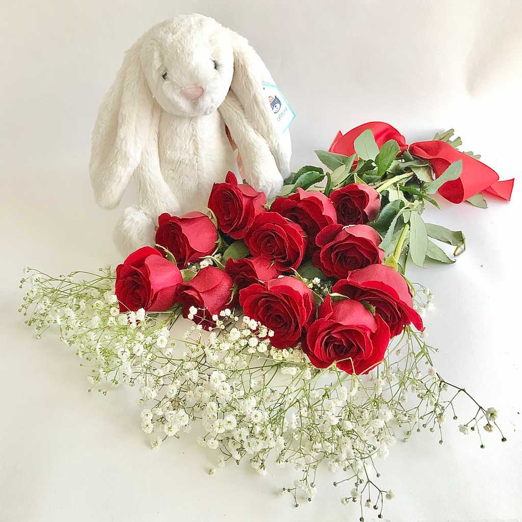 Plush bunny and red roses