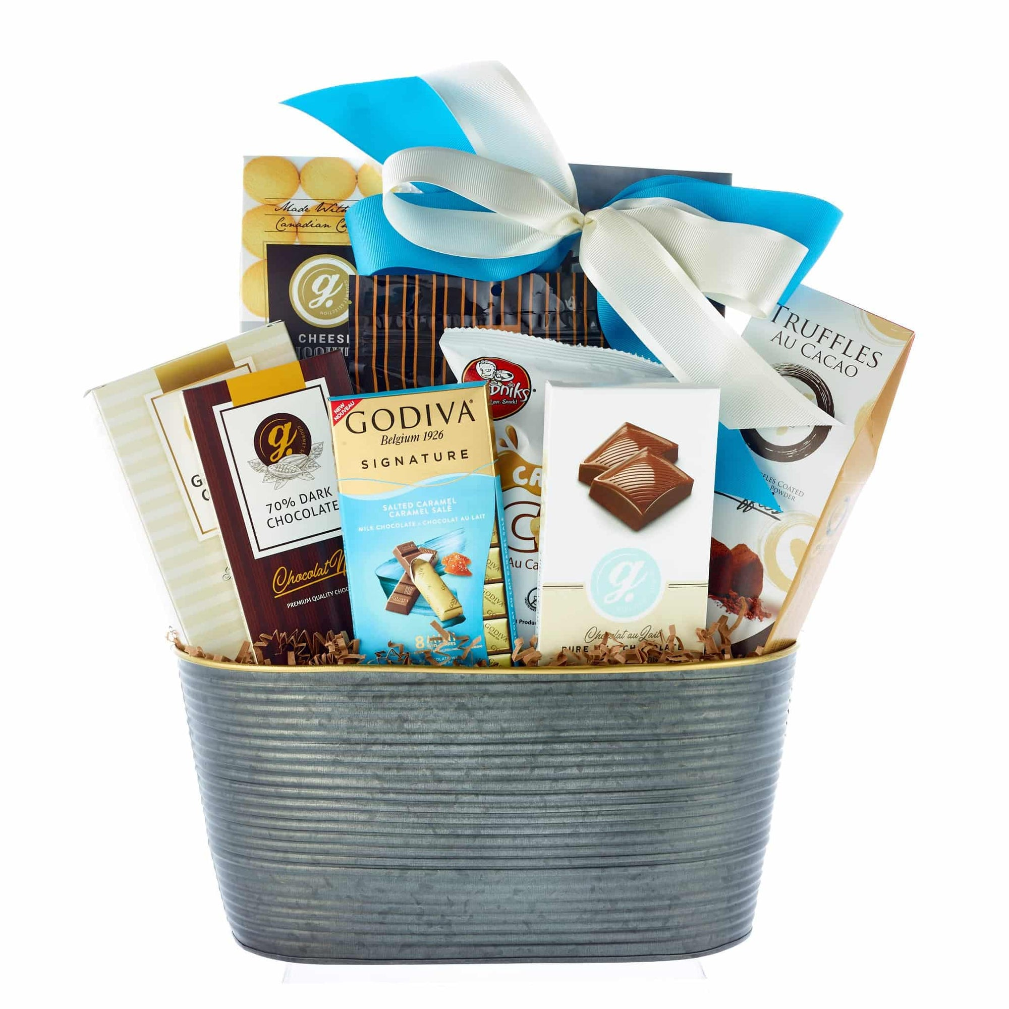 Gourmet chocolates and cookies in metal basket